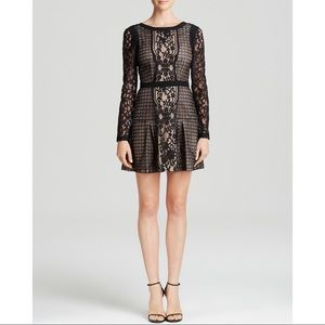 Cynthia Vincent Fit Flare Blk Lace Dress 4 Nwot